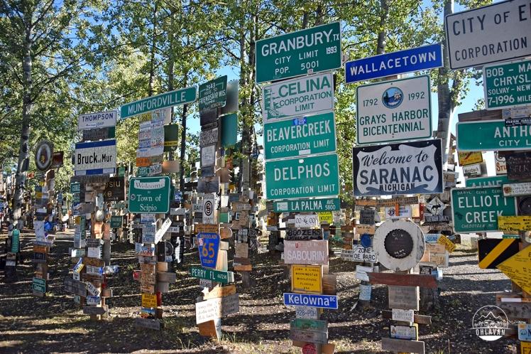 Ohlavan, truckcamper, roadtrip, Panamerican Highway, Panama to Alaska, Basque, Haitian, overland, adventure, Canada, Yukon, Alaska Highway, Sign Forest